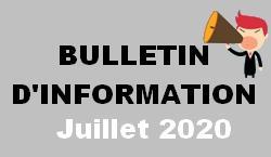 Bulletin d information juillet 2020