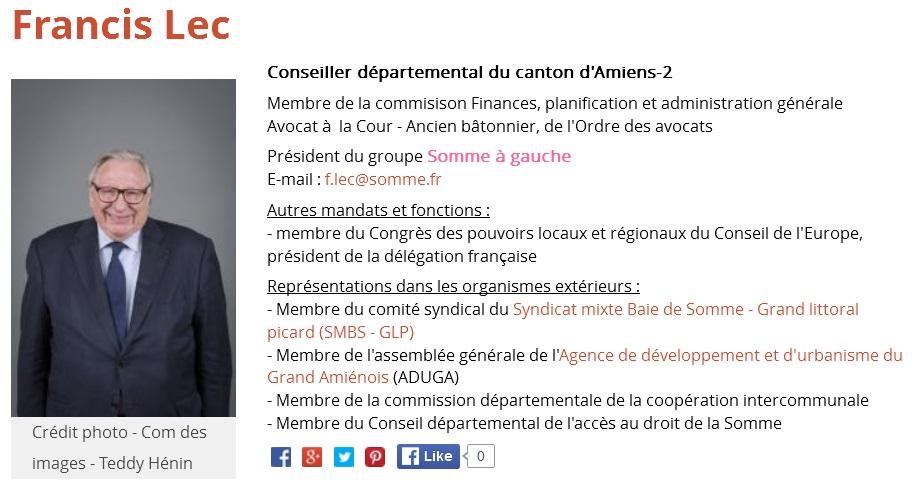 Votre Conseiller Départemental: Francis LEC - Contact: