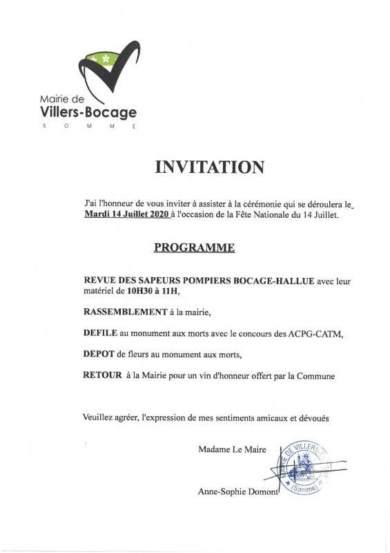 Invitation 14 juilet 2020